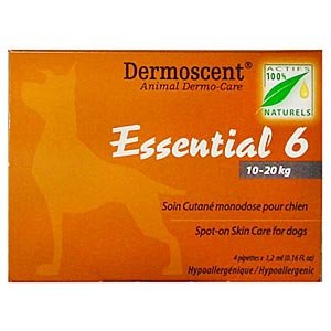 Dermoscent Essential 6 Spot-On Skin Care for Medium Dogs 22-45 lbs, 4 Tubes (10 - 20kg) 20