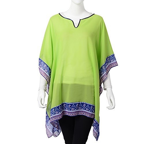 (Shop LC Delivering Joy Lime Green 100% Polyester Flower Border Sheer Poncho One Size)