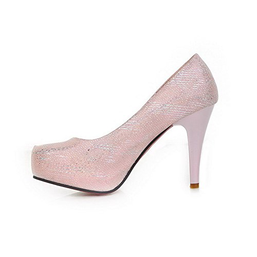 Pu Rosa Pumps Closed Round Toe Voguezone009 Alto Platform Tacco Solido Stampa 2 Uk Womens Pa0xZ