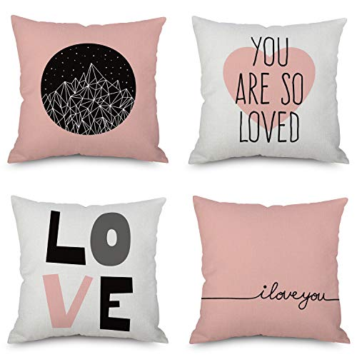Happy Mother's Day Throw Pillow Covers, 18 x 18 Inches for Sofa, Bench and Bed for Girls, Home Decorative Accent Cushion Cases Sef of 4 (Pink - Throw Pillow Day