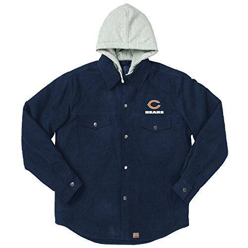 (NFL Chicago Bears Dukane Canvas Quilt Lined Jersey Hooded Jacket, Navy, XX-Large)