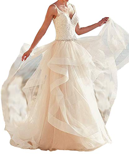 Asoiree Women's Lace Openback Wedding Dresses Sequins Train Gowns Ivory