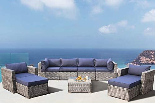 Outdoor Furniture Rattan Couch Wicker Grey 9Pcs Sectional Conversation Sofa Set Lawn Garden Patio Furniture Set Navy Cushion w s Single Sofa
