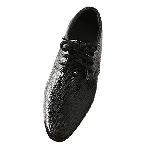 Tantisy ♣↭♣ Boys England Leather Shoes/Gentleman Lace Up Pointy Toe/Perform Dancing Shoes (Children/Little Kid/Big Kid) Black]()