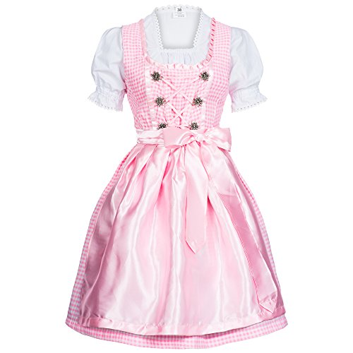 Gaudi-leathers Women's Set-3 Dirndl Pieces Checkered 40 Pink/White]()