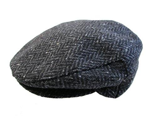 New Flat Irish Hat Wool Tweed Grey Herringbone Made in Ireland John Hanly