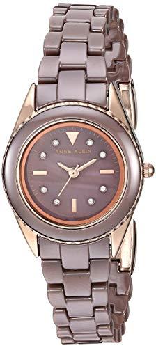 Anne Klein Women's AK/3164MVRG Swarovski Crystal Accented Rose Gold-Tone and Mauve Ceramic Bracelet Watch