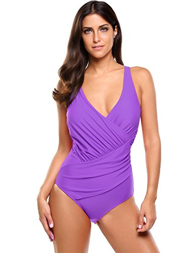 - Ekouaer Women's Plus Size Swimsuit Sexy Swimwear Beach Bathing Suit,C-purple,X-Large