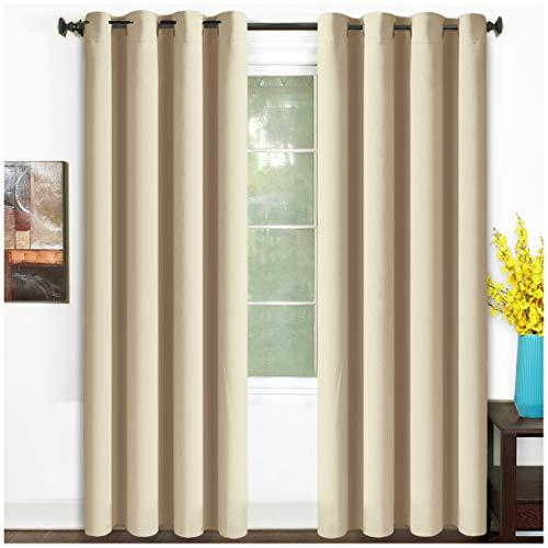 TEKAMON 99% Blackout Curtains Thermal Insulated Grommet 2 Panels Set Draperies, Room Darkening Panels for Living Room, Bedroom, Nursery (W52 X L95, 2 Panels, Beige Cream)