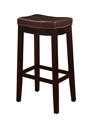 Barstools Bar Stool. Stationary Backless Brown 30 Covered In A Wrangler Brown Fabric W/Nailhead. Tall 4 Leg Seat For Living Room, Kitchen. Cool Modern Contemporary Furniture For Home French Decor.