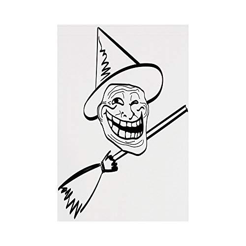 Polyester Garden Flag Outdoor Flag House Flag Banner,Humor Decor,Halloween Spirit Themed Witch Guy Meme Lol Joy Spooky Avatar Artful Image,Black White,for Wedding Anniversary Home Outdoor Garden Decor