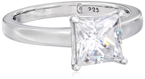 Platinum-plated Sterling Silver Princess-Cut Solitaire Ring made with Swarovski Zirconia (2 cttw), Size 8