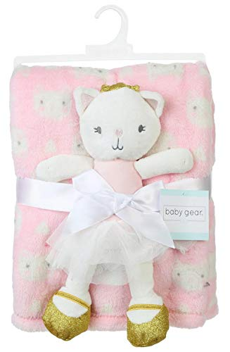 Baby's Plush Toy Ballerina Kitty Cat and Pink Print Blanket Set