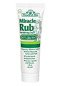 Miracle of Aloe Miracle Rub Pain Relieving Cream 1 Oz Say Goodbye to Tired, Aching Muscles and Joints Due to Arthritis, Rheumatism and Bursitis. Penetrates Deep and Provides Soothing Pain Relief Quick! Fast Acting Ingredients Provide Relief of Minor Muscular Aches and Pains, Painful Joints, Arthritis Pain, Strains, Sprains and Bruises. Gentle & Soothing Formula Works Immediately Due to Fast Action Ingredients! Can Be Used Generously All Over Body Legs, Arms, Scalp, Elbows, Hands, Feet.