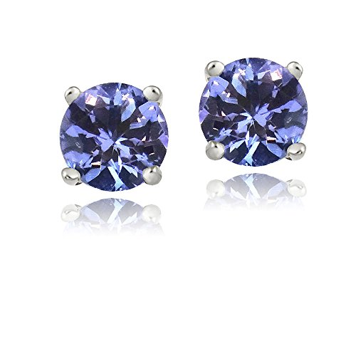- 925 Sterling Silver 1ct Tanzanite Round 5mm Stud Earrings