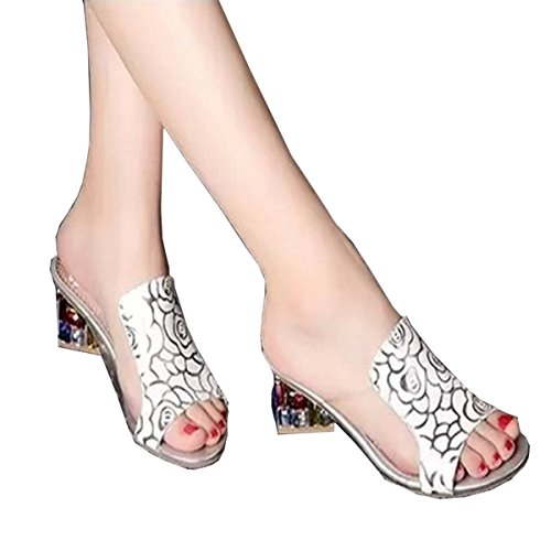 Crystal Size Korean Dfb Slippers Leather Women's With Ladies Big For White Slippers Shoes 39 Rough Women With Rhinestones Sandals BvBOWEwq