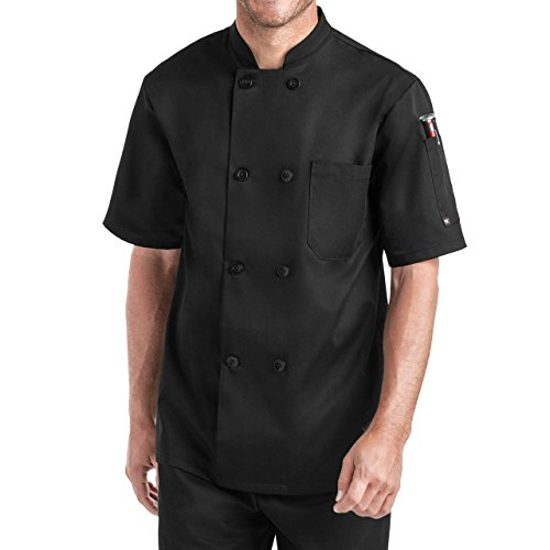 Unisex Short Sleeve Chef Coat/Double Breasted/Plastic Button Reversible Front Closure (S-2X, 2 Colors) (X-Large, Black)