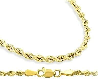 Mens Womens 14k Yellow Gold Necklace Hollow Rope Chain 1.5mm