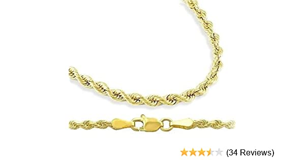 ffce5d150ce91 Mens Womens 14k Yellow Gold Necklace Hollow Rope Chain 1.5mm