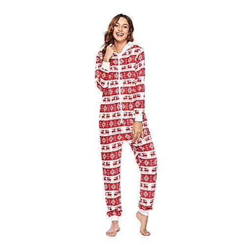 55cac1e59ae3 Poseca Womens Long Onesie Pajamas Christmas Warm Hooded Jumpsuit Animal