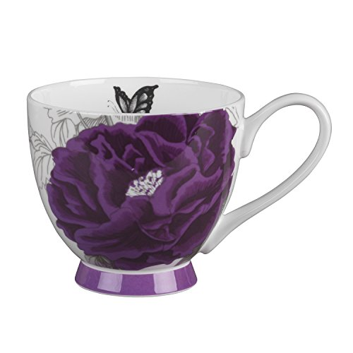 (Portobello Sandringham Peony Purple Bone China Mugs Tea Cups, Set of 2)