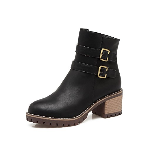 Womens Buckle Boots Black Urethane Slip Resistant BalaMasa ABL10330 Casual a7pCwqqxH