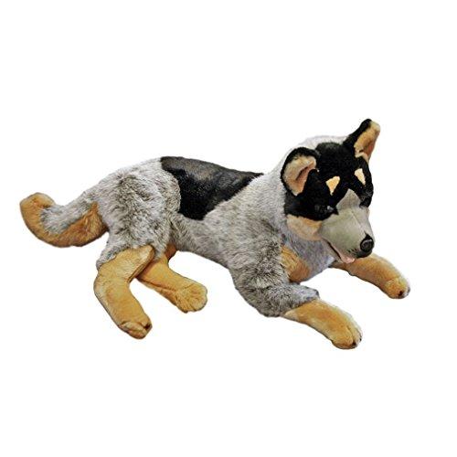 Bocchetta Plush Toys Australian Cattle Dog Extra Large Lying Stuffed Plush Dog Orazio Blue