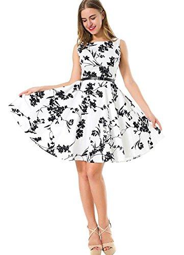 YELINGYUE Frau Sommer Print Sleeveless O-Neck Frauen Kleiden