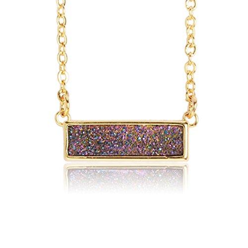 ZENGORI 1 Pcs Gold Plated Natural Agate Titanium Druzy Rectangle Pendant Necklace Jewelry ZG041