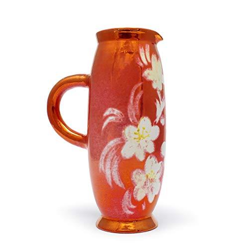 Faenza red Ceramic jug with Floral Design and Handle Ceramiche Lega