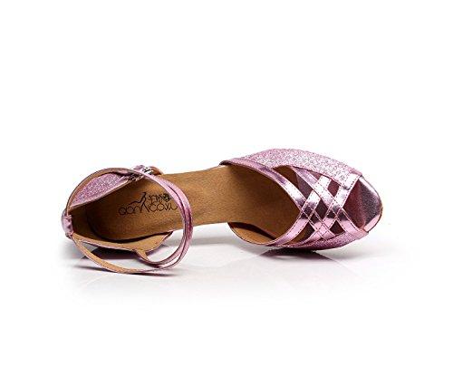 JSHOE Chaussures de Danse pour Femmes Latin Salsa/Tango/Thé/Samba/Moderne/Jazz Chaussures Sandales Talons Hauts,Pink-heeled5cm-UK5.5/EU38/Our39