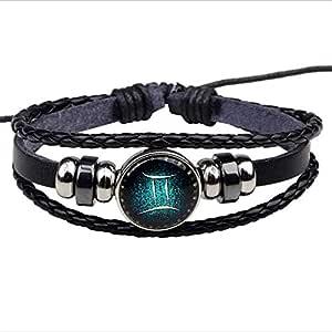 Zodiac Constellation Astrology Horoscop Bracelet Multilayer Charm Leather Wristband Bangle