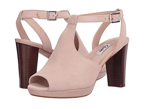 Clarks Women's Kendra Charm Peep Toe Ankle Strap Sandal,Nude Suede,US 9 (Sandal Ankle Charm)