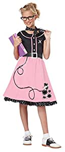 California Costumes Child's 50's Sweetheart Costume, Pink/Black, Large