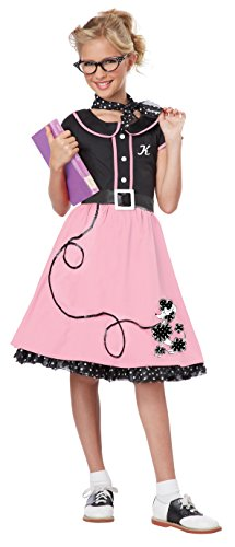 California Costumes Child's 50's Sweetheart Costume, Pink/Black, Large -