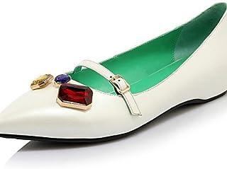 GGX/ Chaussures Femme-Bureau & Travail / Décontracté-Noir / Bleu / Rouge / Blanc-Talon Bas-Talons / Bout Pointu-Chaussures à Talons-Cuir black-us5 / eu35 / uk3 / cn34 MNJMK