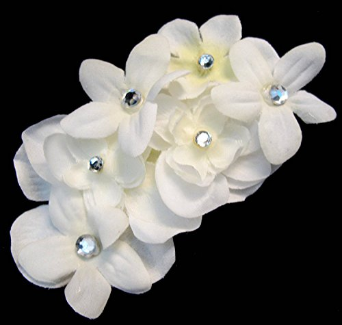 Hair flowers hair flowers white blossom flower clip with rhinestones image is loading hair flowers hair flowers white blossom flower clip mightylinksfo