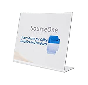 SourceOne Premium Landscape 11 X 8.5-Inches Sign Holders Brochure Holders Clear Acrylic, Pack of 6 (S1-6P-SB-11x8.5)