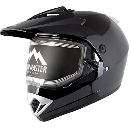 Snow Master TX-45 Gloss Black Dual Sport Snowmobile Helmet (Glossy Black, Medium)