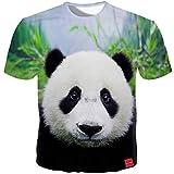Summer Men T Shirts 3D Print Panda Cute Tops O-Neck Short Sleeve Casual Kawaii T Shirts Women Tees (Photo Color-M)