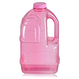 "1 Gallon BPA FREE Reusable Plastic Drinking Water Big Mouth ""Dairy"" Bottle Jug Container with Holder - Pink"