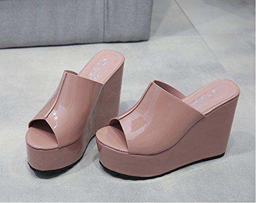Xing Lin Sandalias De Mujer Zapatillas De Verano Femenina Pendiente Con Zapatillas Gruesas Sandalias De Tacón Zapato Abierto Boca De Pescado Sandalias Femenina Taiwán Impermeable pale pinkish gray