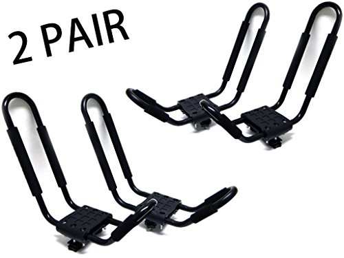 9sparts® 2 Pairs J Bar Kayak Canoe Inflatable Boat Wakeboard Waveboard Paddleboard Snowboard Ski Roof Rack Carrier Car SUV Truck Jeep Roof Top Mount With Straps