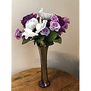 Mother's Day purple roses and white anemones in a metal Japanese vase 95