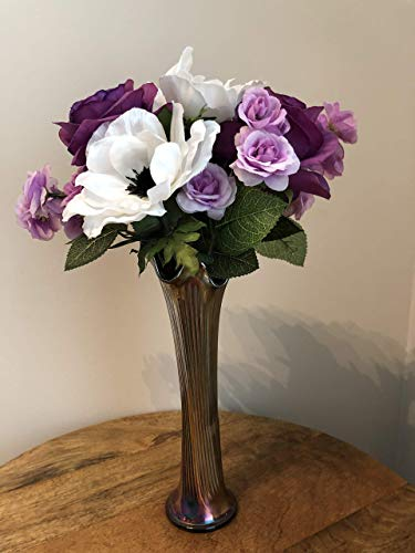 - Mother's Day purple roses and white anemones in a metal Japanese vase