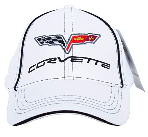 Chevy Corvette C6 Fitted Flexfit Fine Embroidered Hat Cap, White