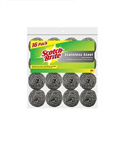 Scotch-Brite Stainless Steel Scouring Pad, 16-Pad