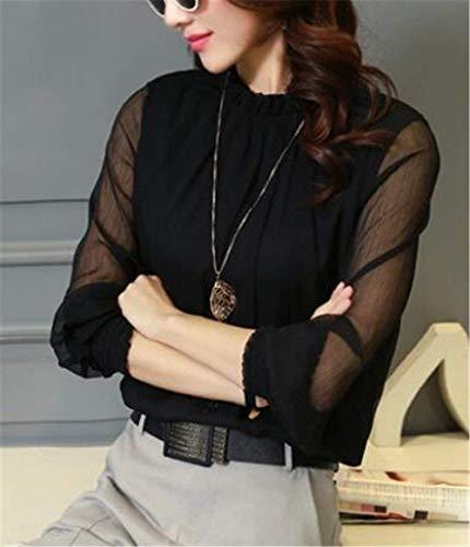Printemps Femme Haut Tops Manches Uni Demi Col Noir Manche Blouse Long Fashion Fille Classique Mousseline Chemisier Elgante Dsinvolte Automne Haut Longue Shirt Manche qAvwwftE