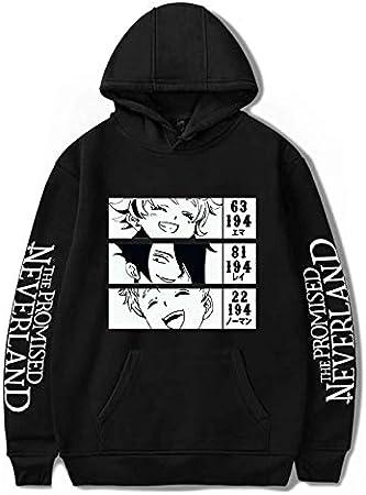 JFLY Anime The Promised Neverland Sudadera con Capucha Emma. Normando. Ray.Printed Streetwear Mujer Hombre Sudaderas con Capucha Hombre Ropa