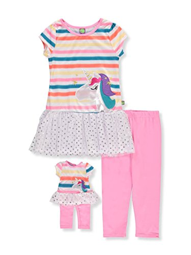 ig Drop-Waist Tunic with Legging and Matching Doll Outfit, Pink/Multi, 14 ()